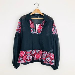 Endless Rose Aztec Embroidered Popover Blouse